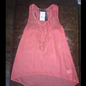 Beautiful coral sequined tank